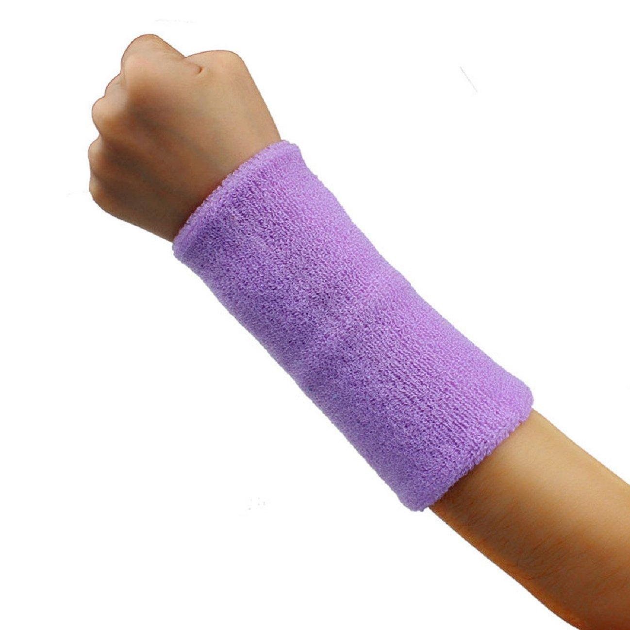 Tonsee 1 PCS Unisex Cotton Basketball Tennis Gym Yoga Sweatband Wristband (Light Purple)