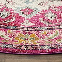 Safavieh Monaco Collection MNC243D Vintage Oriental Bohemian Pink and Multi Distressed Round Area Rug (3 in Diameter)