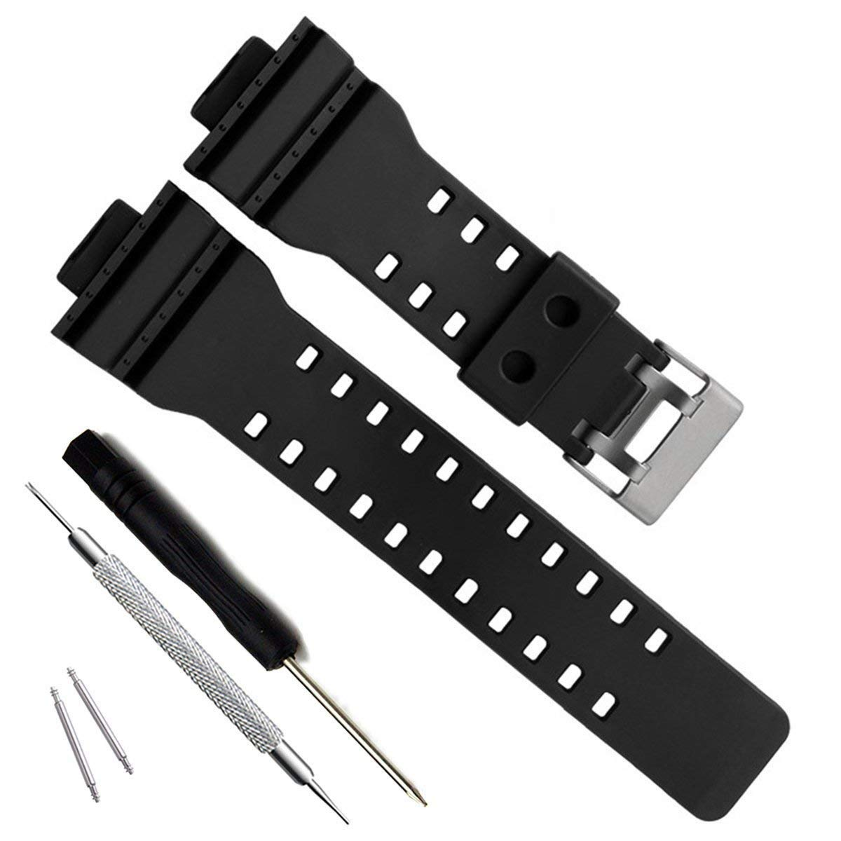 Natural Resin Replacement Watch Band Strap for Casio Mens G-Shock GD120/GA-100/GA-110/GA-100C (Black) by MyTime