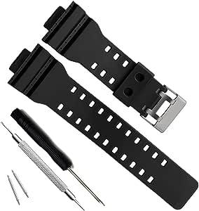 OliBoPo Natural Resin Replacement Watch Band Strap for Casio Mens G-Shock GD120/GA-100/GA-110/GA-100C