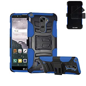 LG Stylo 2 Plus Case, IECUMIE Duo Armor Skin Protective Cover Case W/ Stand, Belt Clip, & Holster for LG G Stylo 2 Plus - Blue