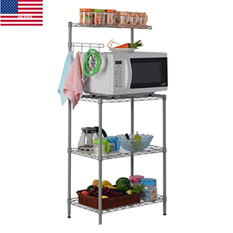 Yaonieo 3 Tiers Kitchen Baker\'s Rack Microwave Cart Storage Workstation  Kitchen Shelving Unit 21.7\