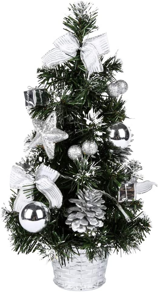 Hotiary Mini Christmas Tree,Pre-decorated Miniature Bonaic With Lights Small Decorative Artificial Xmas Battery Operated DIY Ornaments for Home, Kitchen, Desktop (Silver 16inch with Light)