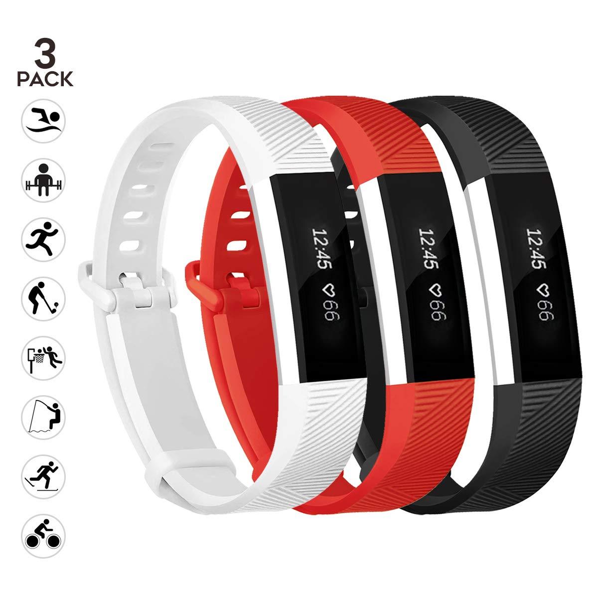最新HRとALTAバンドFitbit ALTA交換、sunyfeel 12色ファッションスポーツシリコンPersonalized交換用ブレスレットwith Metal Clasp for Fitbit ALTAアルタHR /  1black+White+red B073ZBGZD8