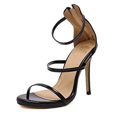 c672a043ca3f Womens Ladies Stiletto high Heel Barely There Double Strap Buckle Party  Sandals Shoes Size (Black