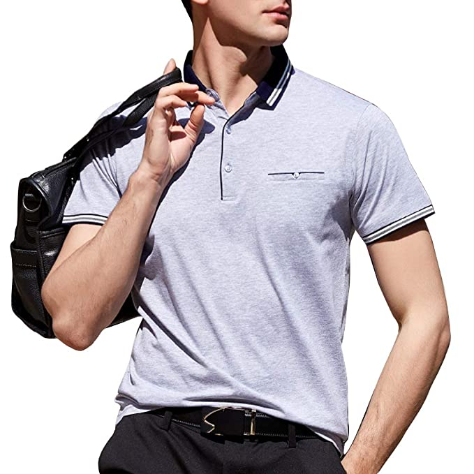 755cffe64 Wishere Men s Business Polo Shirt Long Short Sleeve Collared Solid Color T- Shirt  Amazon.ca  Clothing   Accessories