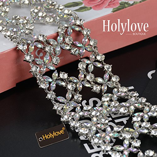Holylove Crystal Chunky Choker Wide Chain Bib Collar Statement Necklace-HLN47 Crystal by Holylove (Image #3)