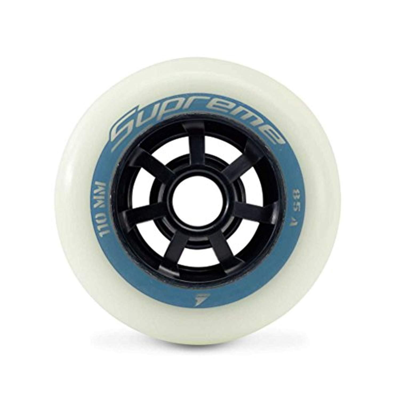 Rollerblade Supreme Glow 110mm 85A Wheels (6PCS) White EA & Headband Bundle