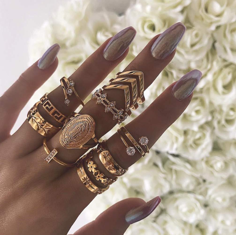 estilo bohemio estilo vintage Dusenly 13 Anillo de mujer con patr/ón de diamantes