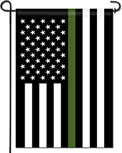 Anley Double Sided Premium Garden Flag, Thin Green Line USA Decorative Garden Flags - Weather Resistant & Double Stitched - 18 x 12.5 Inch