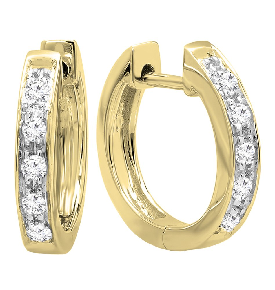 0.12 Carat (ctw) 10K Yellow Gold Round White Diamond Ladies Huggie Hoop Earrings by DazzlingRock Collection