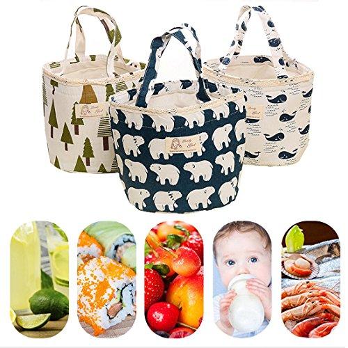 Oyachic Thermal Lunch Bag Insulated Tote Leakproof Drawstring Bag with Foil Liner for Office, School and Picnic (Whale white) by Oyachic (Image #3)