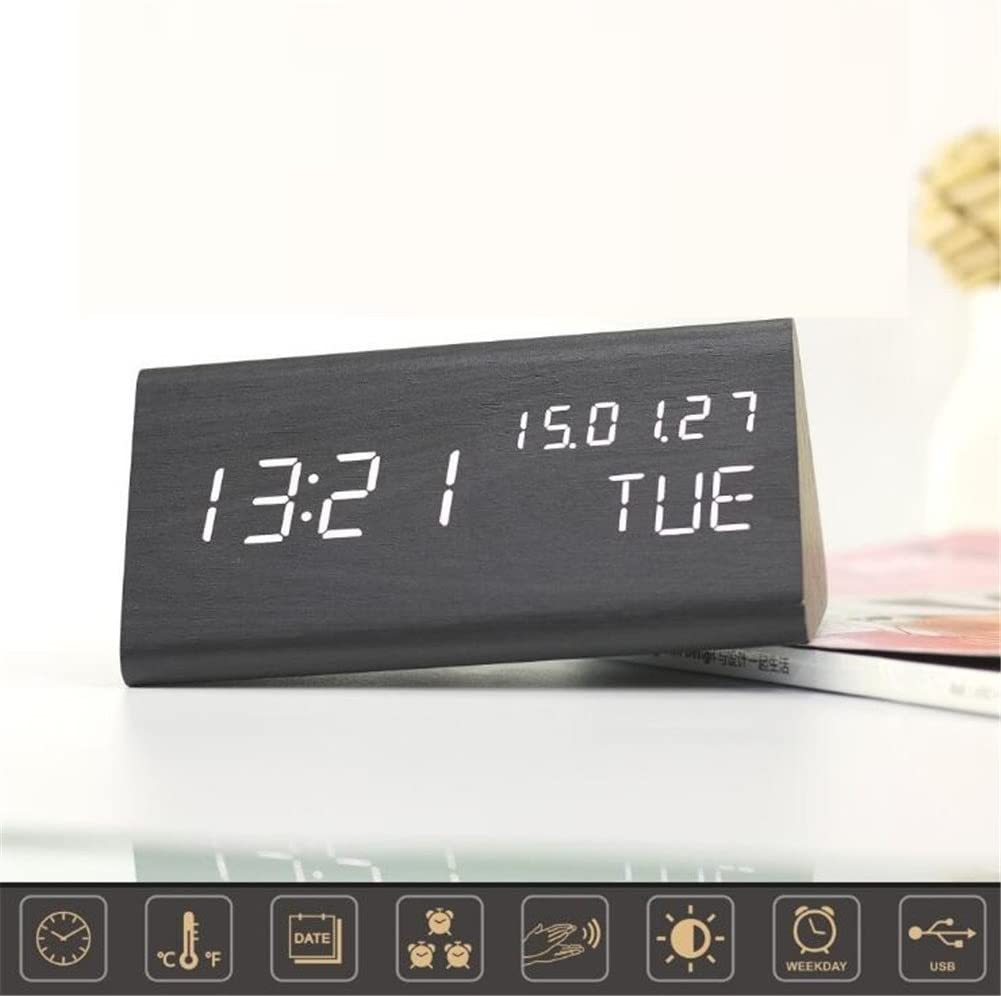 TRADE Triangle Wooden LED Alarm Clock, Modern Design Voice Actived Digital Desk Clock with Time Temperature Week Display & 3 Level Brightness Adjustment Bedside Wood Clock for Home Office