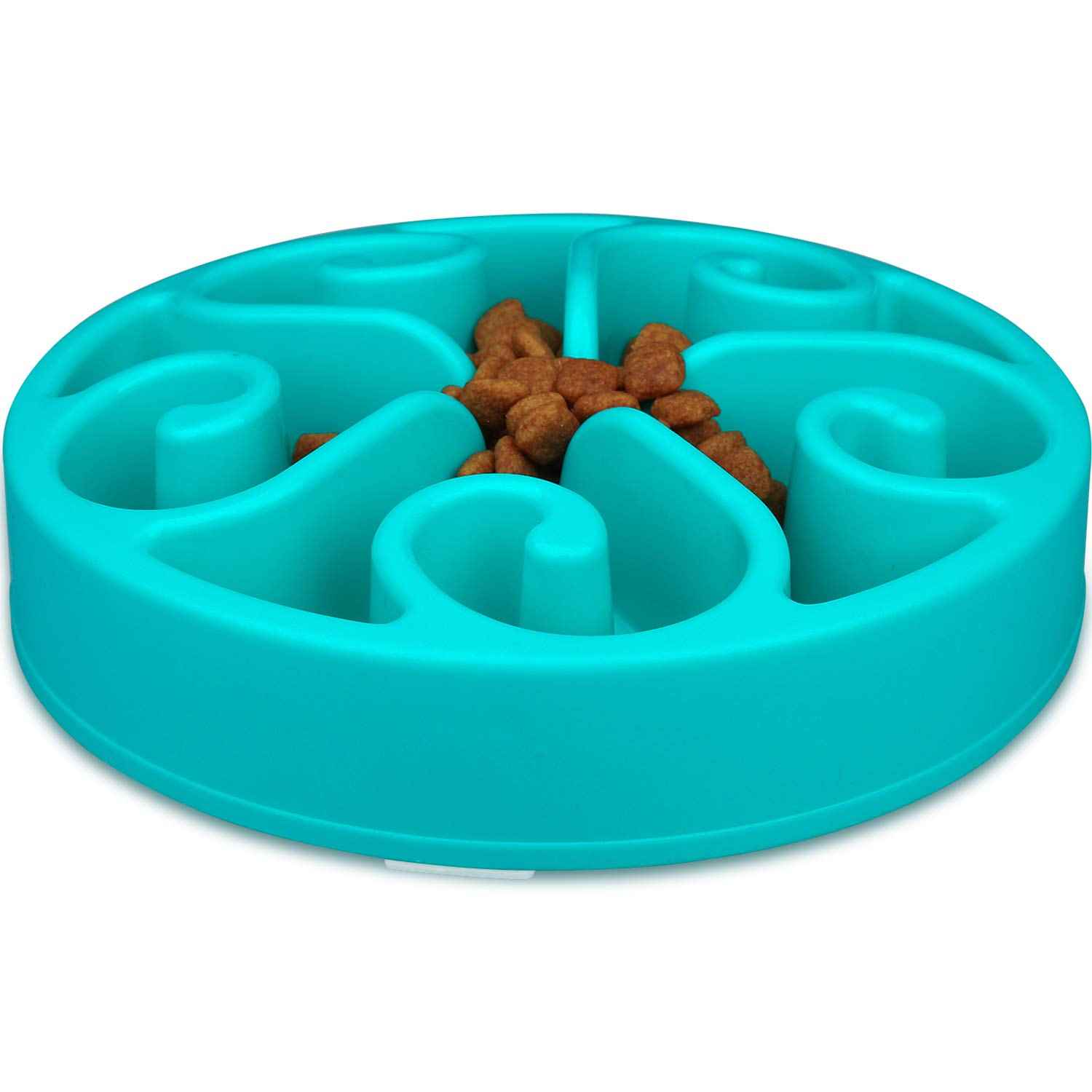 Wangstar Slow Feed Dog Bowl 8 inch Bloat Stop Dog Puzzle Bowl Maze Dog Food Water Bowl Pet Interactive Fun Feeder Slow Bowl SkidStop Design (bluee)