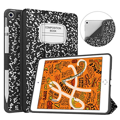 Soke iPad Mini 5 Case 2019 with Pencil Holder, Premium Trifold Case with Strong Protection, Ultra Slim Soft TPU Back Cover with Auto Sleep/Wake Function for New Apple iPad Mini 5th Gen,Book Black (Ipad Mini Case With Smart Cover Function)