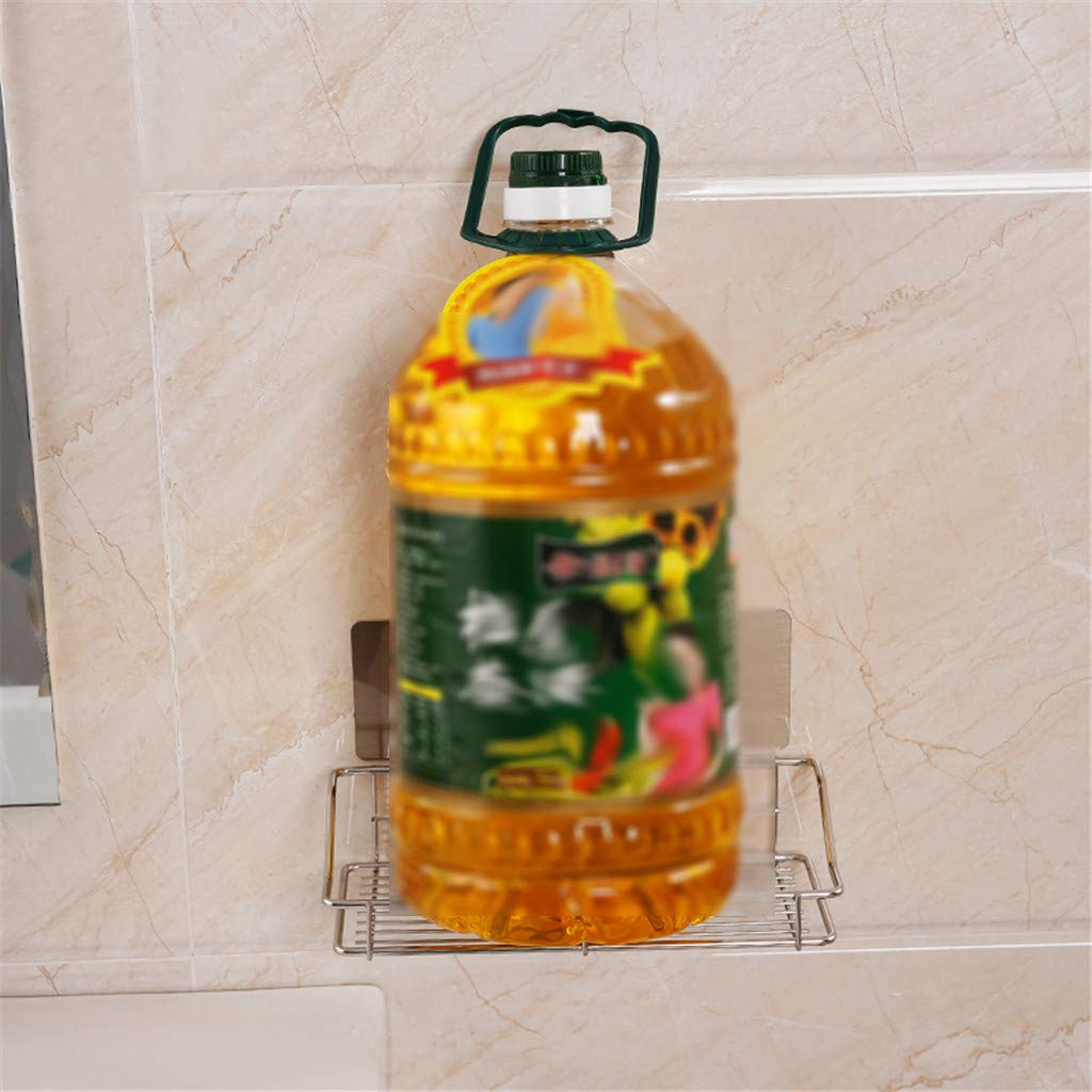 Pstasr Stainless Steel Self Adhesive Shelf Shower Basket Bathroom Wall Mounted Storage Rack Adhesive No Damage Wall Mount