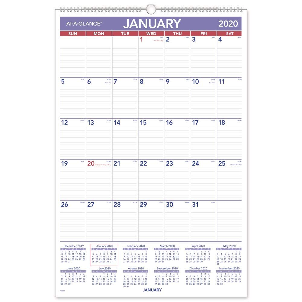 """AT-A-GLANCE 2020 Monthly Wall Calendar, 20"""" x 30"""", XLarge, Wirebound (PM428)"""