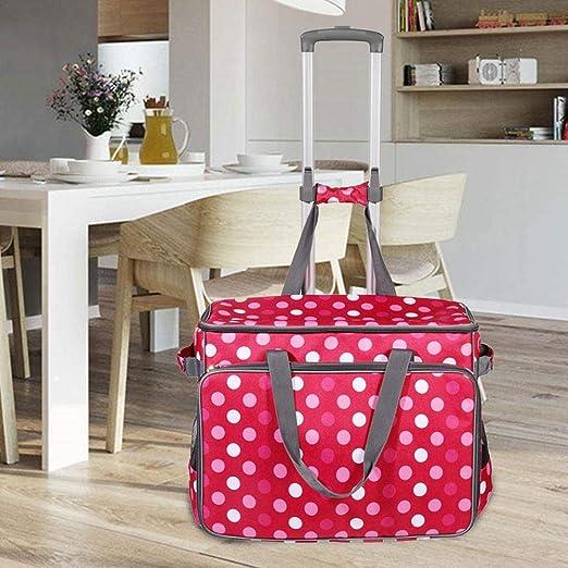 Seasons Shop – Maleta con Ruedas para Todo Tipo de máquinas de Coser domésticas, maletín para Transporte cómodo y Almacenamiento Seguro – 43 x 30,5 x 19 cm Current: Amazon.es: Hogar