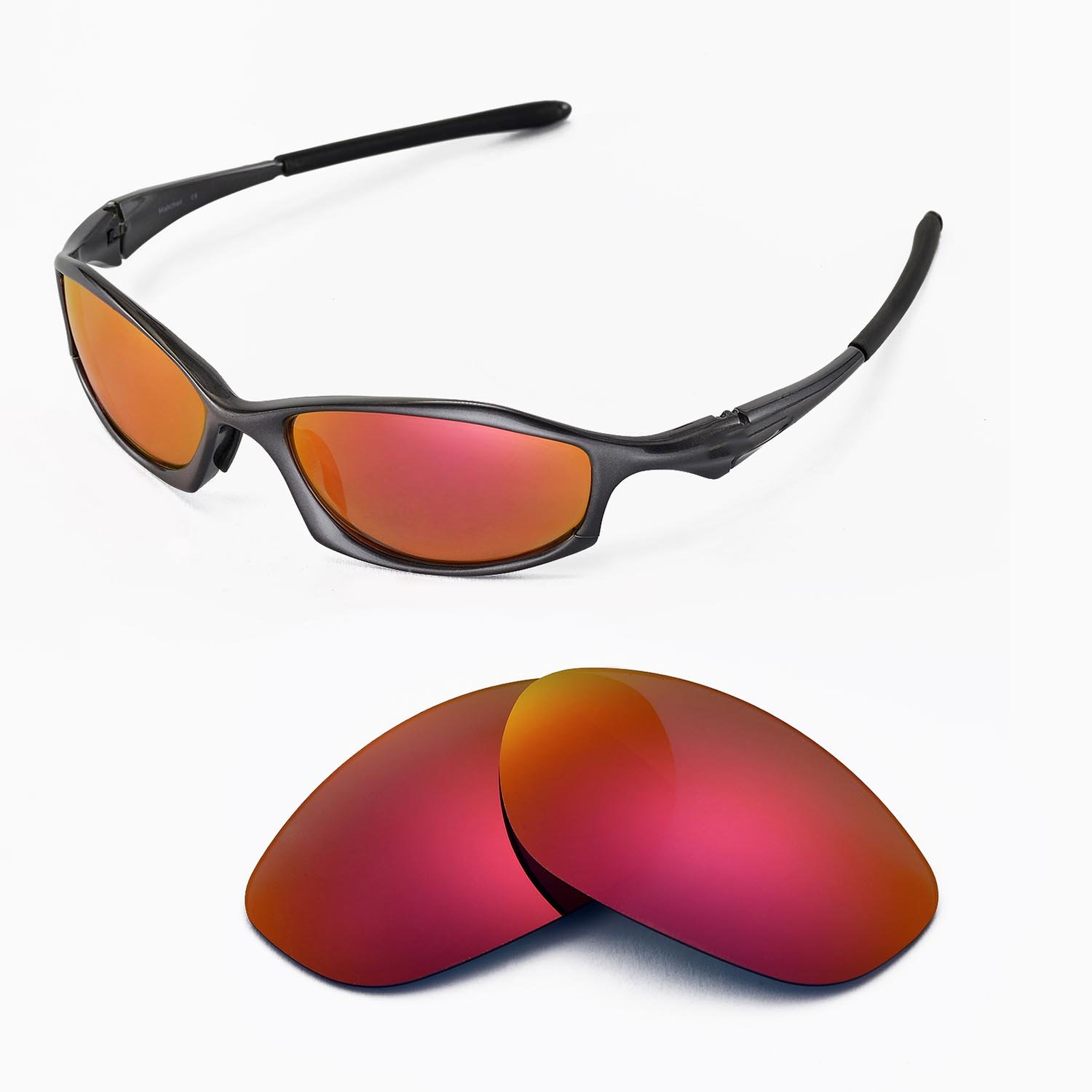 2845d57545 Amazon.com   Walleva Replacement Lenses for Oakley Hatchet Wire Sunglasses  - Multiple Options Available (Fire Red Mirror Coated - Polarized)   Sports  Fan ...
