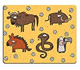 Liili Mouse Pad Natural Rubber Mousepad IMAGE ID: 17142644 Hand drawn grunge illustrations set of gnu warthog hyena and vulture