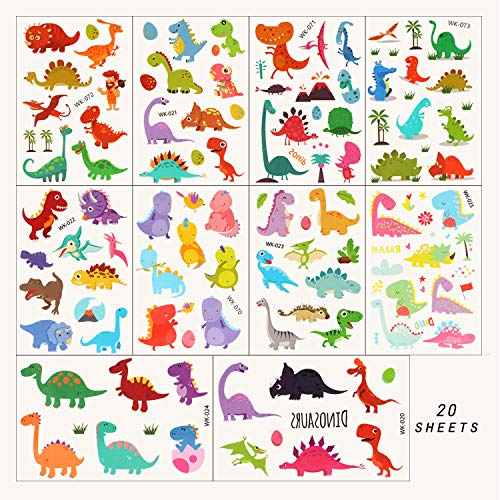 Phogary 220 Pieces 20 Sheets Dinosaur Theme Temporary Tattoos Jurassic Period Patterned Body Art Waterproof Tattoos for Kids from Phogary
