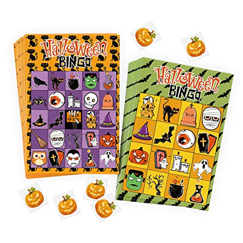 Halloween Games For Classroom Parties (Unomor 57PCS Halloween Bingo Game Cards for Kids Adults with 40 Players for Halloween Party Card Games Favors, School Classroom Games, Trick or)