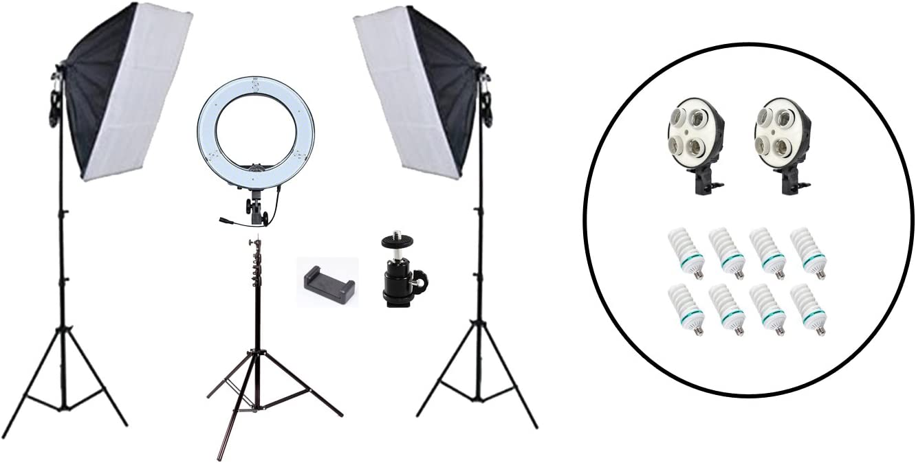 1800w Photo Video Softbox Continuous Lighting Kit Fodoto 13 inch LED Diva Ring Light