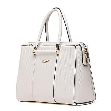 5eb0925abbb110 Kadell Frauen Luxus Leder Designer Handtaschen Top Griff Geldbörse für  Damen Umhängetasche Grau-weiß