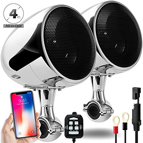 GoldenHawk 300W All-in-One 4'' Full Range Waterproof Bluetooth Motorcycle Stereo Speakers 7/8-1.25 in. Handlebar Mount w/AUX & Wired Control Music Player Audio Amp System Harley Touring Cruiser ATV UTV by Golden Hawk USA