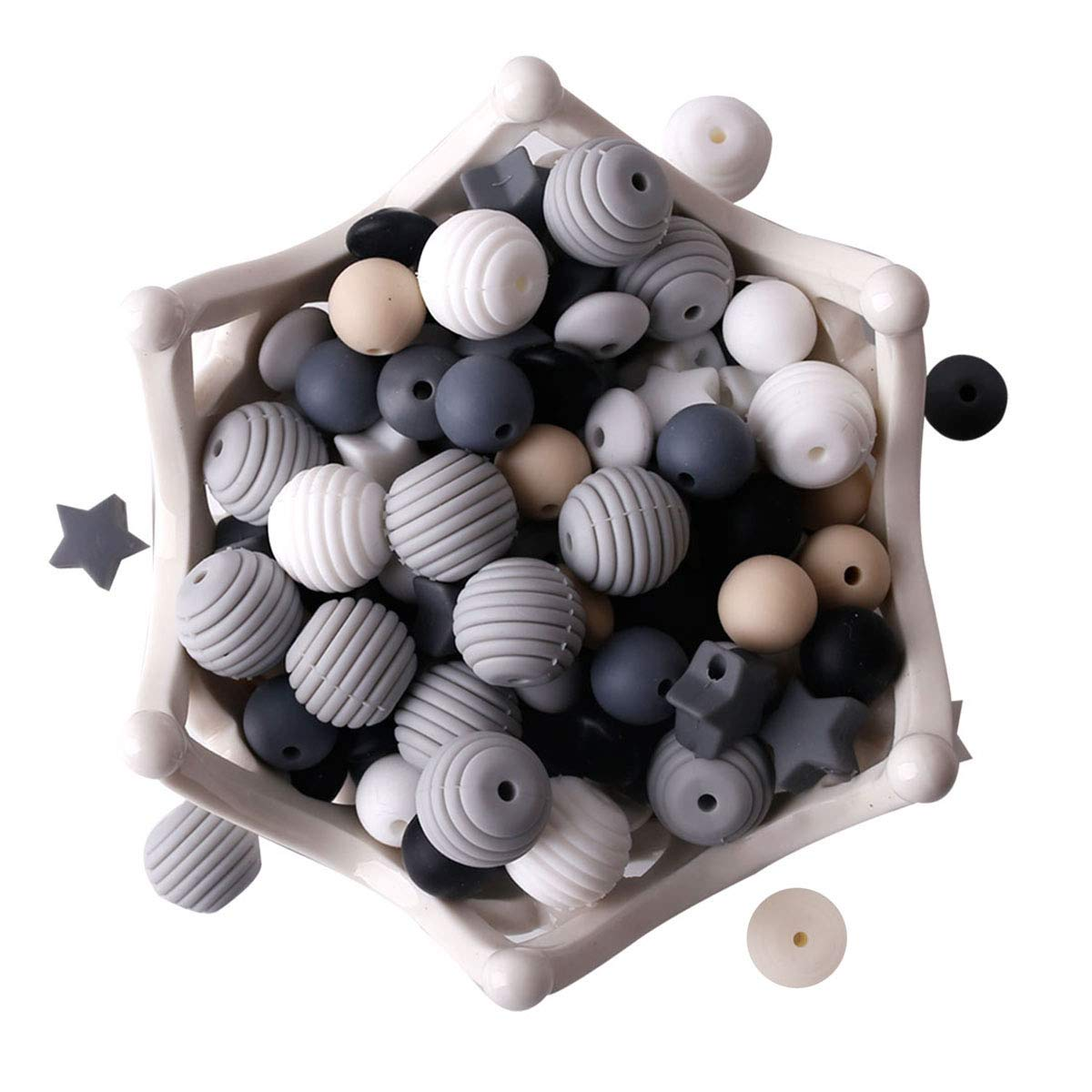 Silicone Beads 100pcs Beads Black and White Series DIY Jewelry Nursing Necklace Accessories