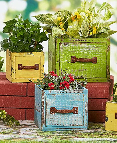 Set of 3 Wood Drawer Planters (Multicolor) by The Lakeside Collection