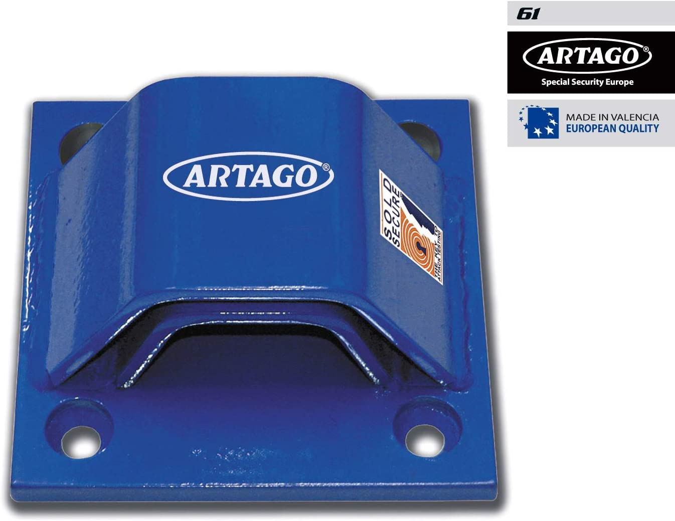 Artago 61 Anclaje Suelo Alta Seguridad Doble Puente Homologado Sold Secure, Tacos Especiales Blindados, Azul: Amazon.es: Coche y moto