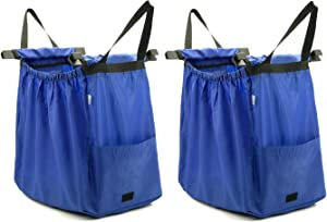 HOLYLUCK Large Capacity Reusable Grocery Bag Perfect For Shopping Cart - Detachable & Foldable (2 pack Blue)