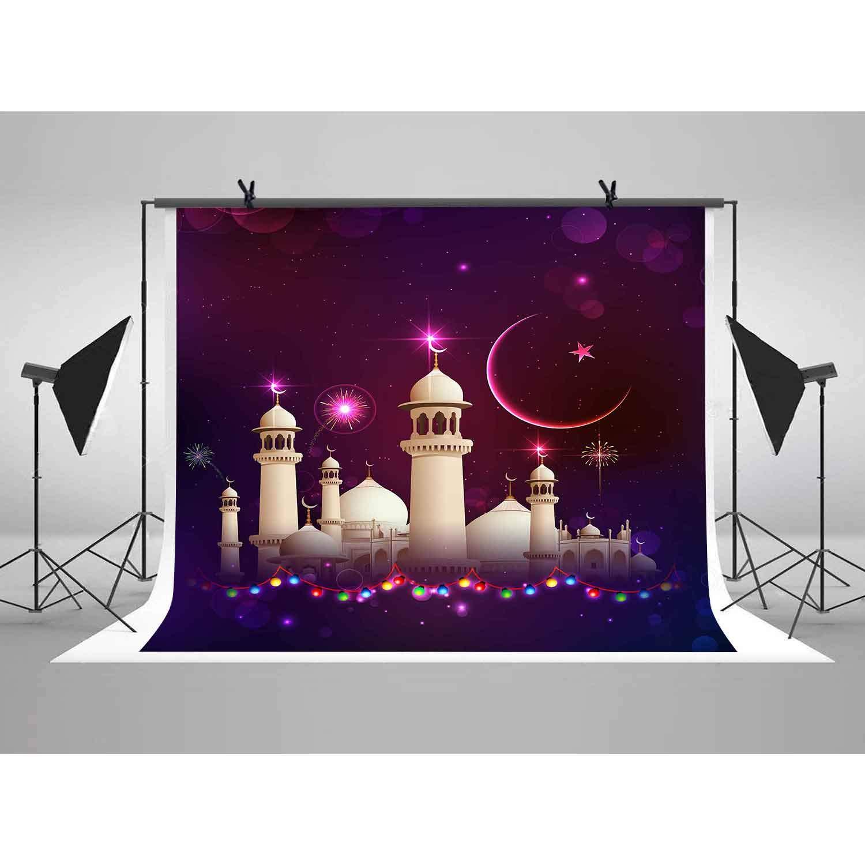 LUCKSTY 6x6フィート ホワイト 夜のモスク 背景幕 キラキラ星月 カラフル ランプ 背景 写真ブース スタジオ小道具 LULF311   B07K1LTMBV