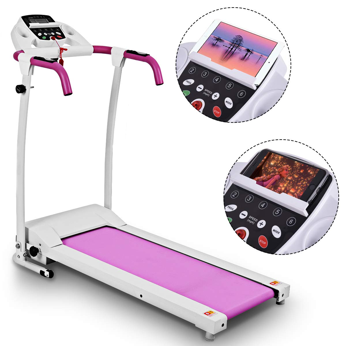 Goplus 800W Folding Treadmill Electric Motorized Power Fitness Running Machine with LED Display and Mobile Phone Holder Perfect for Home Use (Pink) by Goplus (Image #8)