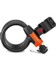 SKM Candado para Bicicleta de Llave 1.8m Cable, Cerradura de Bicicleta Antirrobo Montaje Flexible para Bicicleta, Puerta, Armario, Bolsa y así Sucesivamente