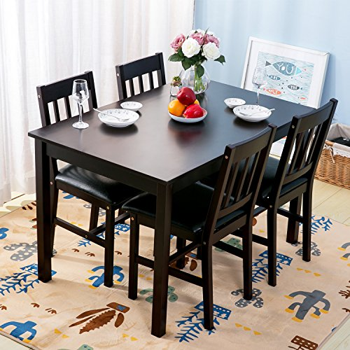 Merax Soild Wood 5-piece Dining Sets, 4 Person Dinning Table and Cushion Seat Dinning Chairs - Dark Espresso