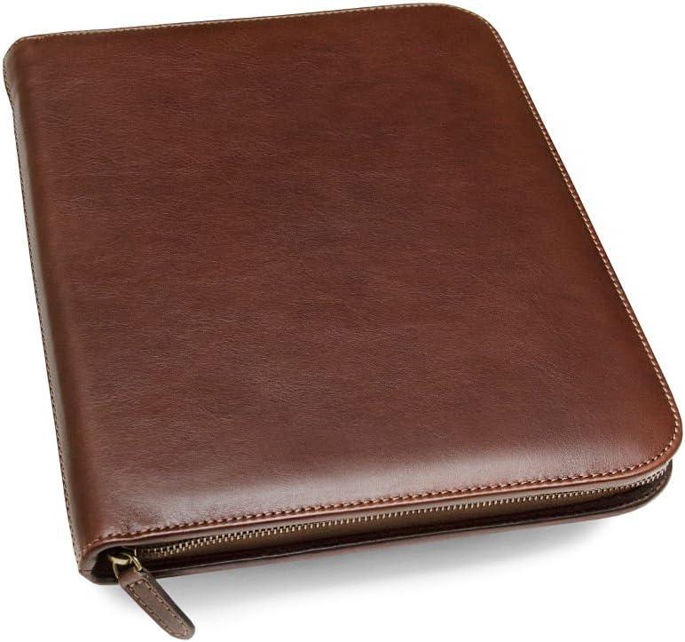 Maruse Personalized Italian Leather Executive Portfolio Padfolio, Folder Organizer with Zip Closure and Writing Pad, Handmade in Italy, Custom Brown