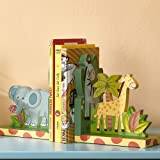 Fantasy Fields - Sunny Safari Animals Thematic Set of 2 Wooden Bookends for Kids | Imagination Inspiring Hand Crafted & Hand