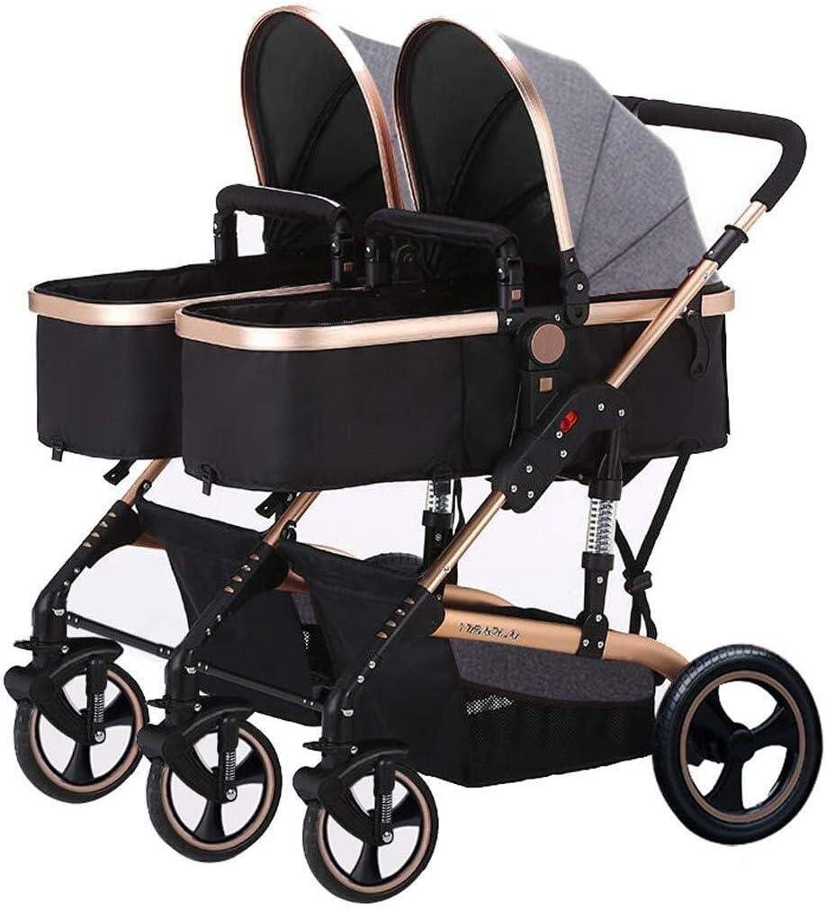 TZZ ジョギングベビーカー、軽量ダブル新生児と幼児のための都市の赤ん坊ベビーカーを折ります (色 : グレー)