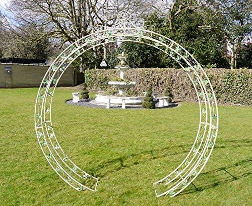 Metal redondo vintage arco para jardín con decoración de flores, color blanco: Amazon.es: Jardín