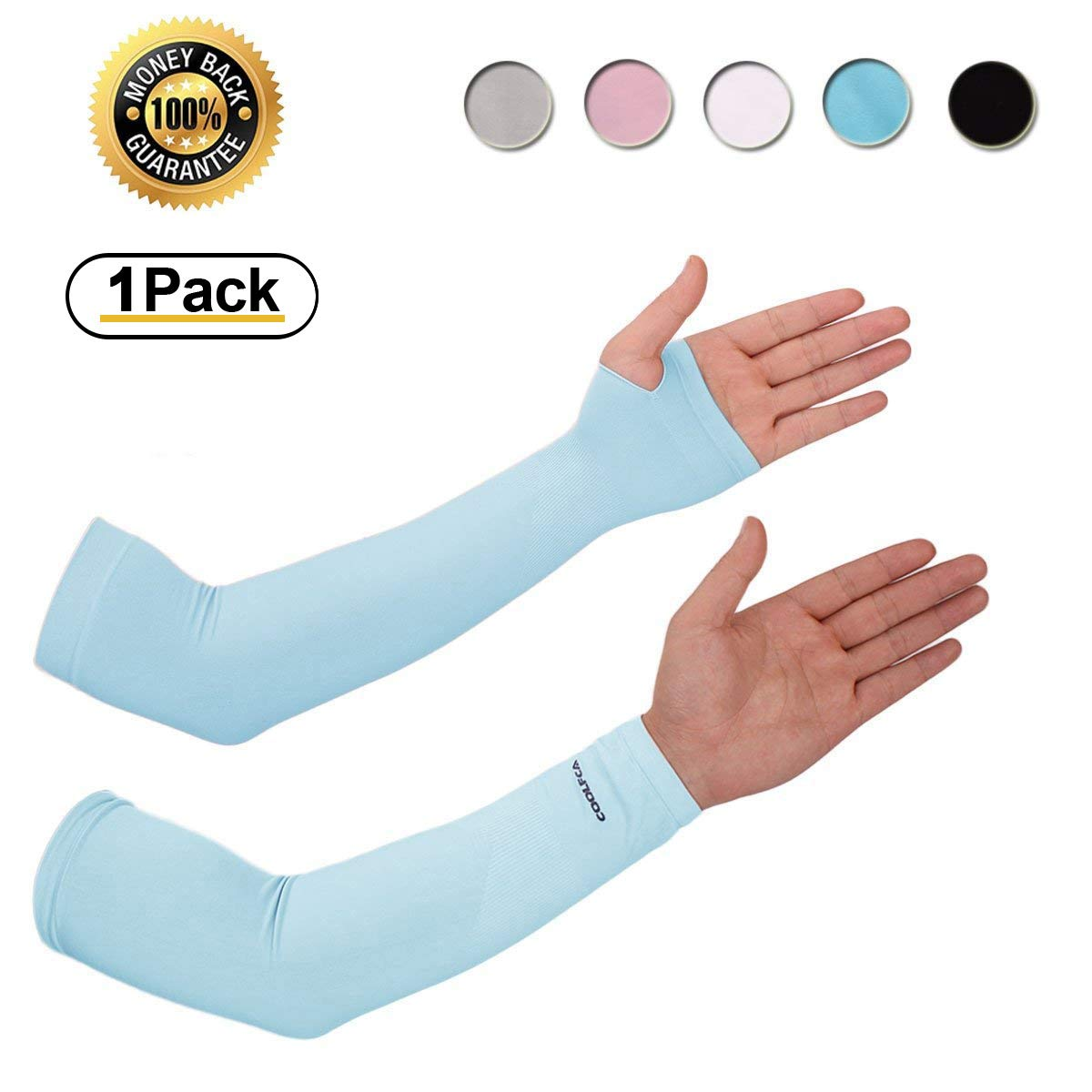 b73d6c8794 Achiou Arm Sun Sleeves UV Protection Cooling for Men Women Sunblock Cooler  Protective Outdoor Sports Running