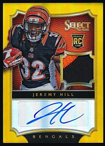Jeremy Hill 2014 Panini Select Prizm Gold Auto Patch Rookie Card 07/10*bengals* - Panini Certified - Football Slabbed Autographed Rookie Cards (07 Panini)
