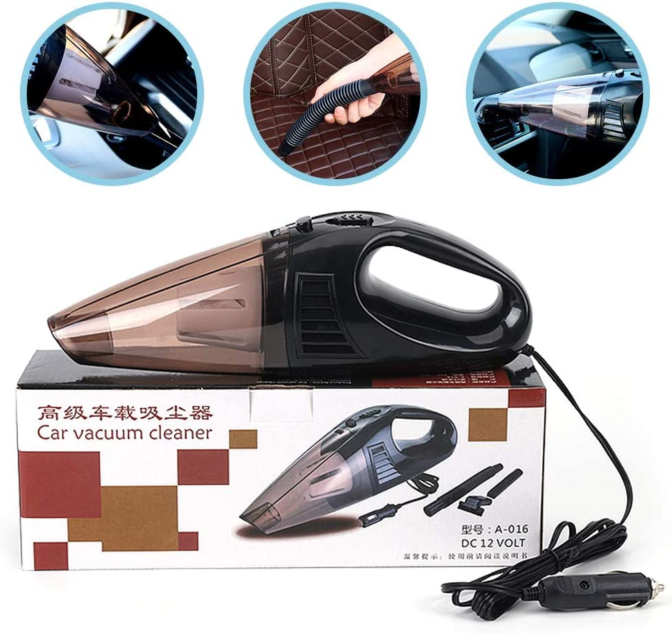 12V Powerful Handheld Vacuum for Car with Wire Strong Suction Vacuum for Car Ldawy Car Vacuum Cleaner Black