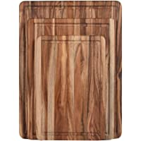 ZESPROKA Thick Acacia Wood Cutting Board with Juice Drip Groove,Set of 3
