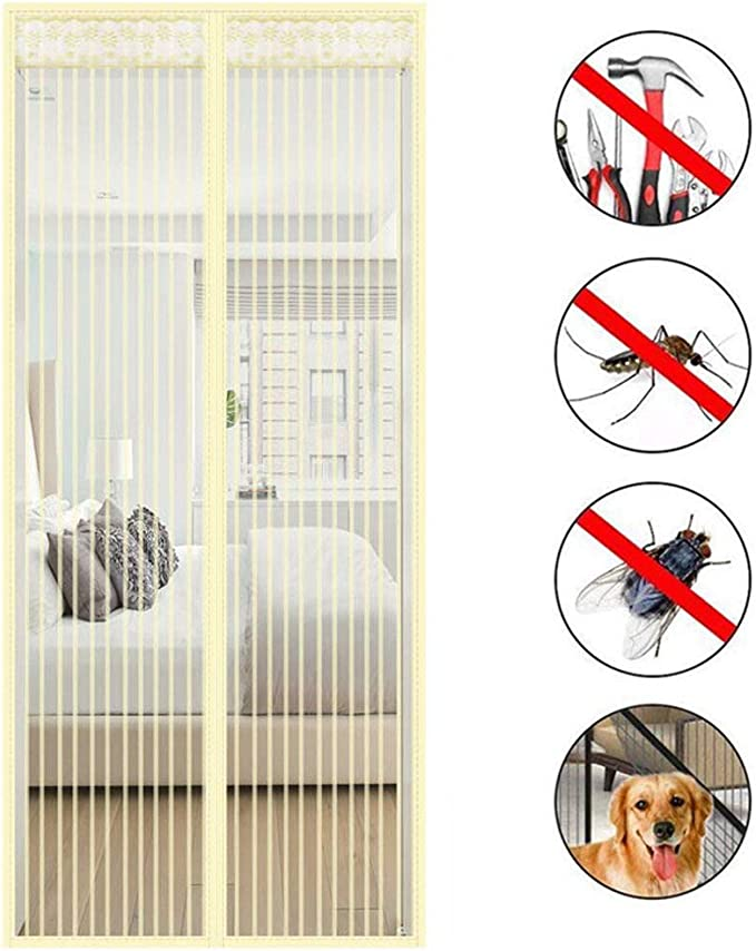 200cm Beige Magnetic Fly Screen Door Keep Insects Out Mosquito Door Screen Without Drilling Seal Automatically,Balcony Sliding Doors Living Room for Keep Away from Mosquitoes Curtain 80