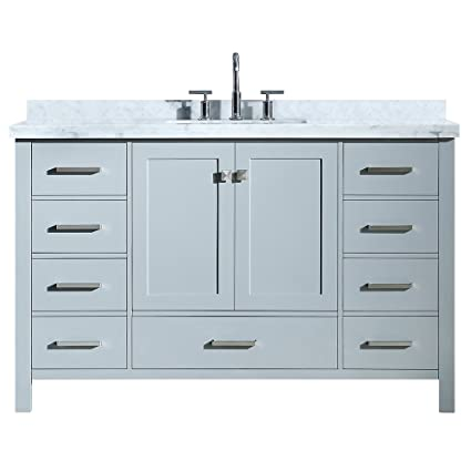 ARIEL A055SCWRVOGRY Cambridge 55u0026quot; Inch Bathroom Vanity In Grey With  Carrara White Marble Countertop Rectangular