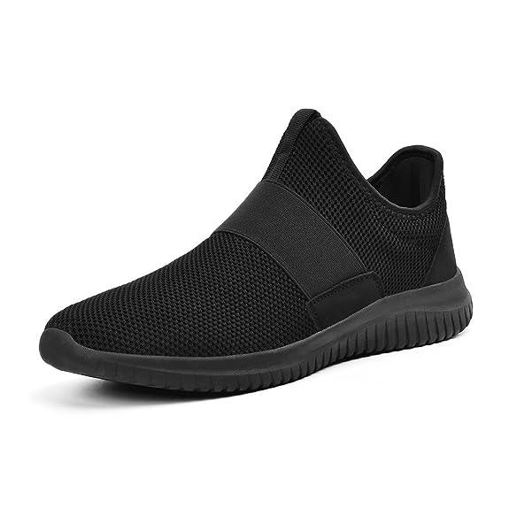 ZOCAVIA Scarpe Sportive da Uomo Sneakers Senza Lacci per Correre(Rosso,40 EU)