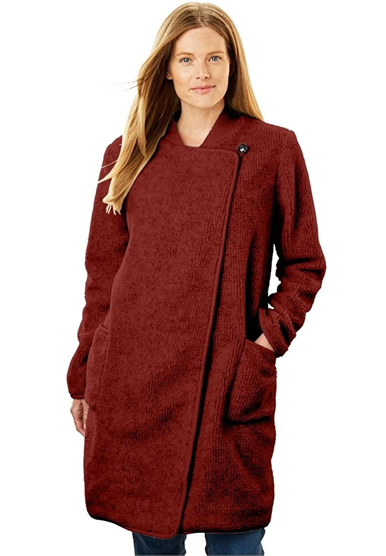 43d33f13d95 Amazon.com  Woman Within Plus Size Rib Knit Collar Berber Jacket  Clothing