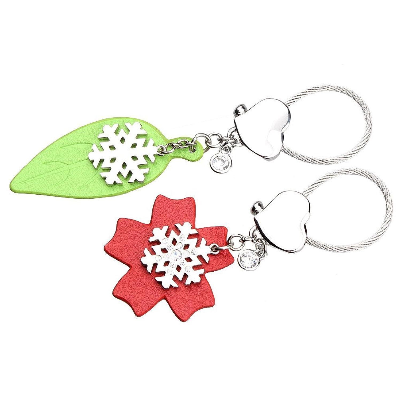 One Pair Couple's Bling Crystal Leaf Snowflake Metal Keyring Keychain